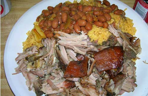 Pork, rice and beans: mmmmmm.